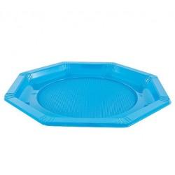 Assiette Octogonale en Plastique Turquoise