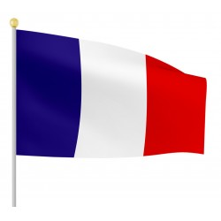 Drapeau Tissu France 30cmx45cm avec Bâton