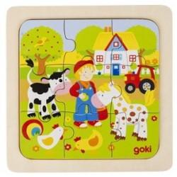PuPuzzle en Bois 9 Pièces la Ferme - Goki