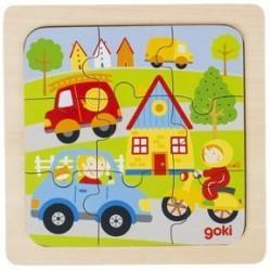 Puzzle en Bois 9 Pièces les Véhicules - Goki