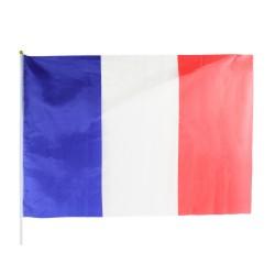 Drapeau France 60 x 90cm avec Bâton