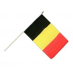 Drapeau Belgique 14 x 21cm avec Bâton