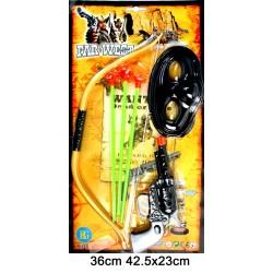 Arc Indien 36cm avec 3 Flèches Masque et Pistolet