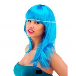 Perruque Longue à Frange Turquoise