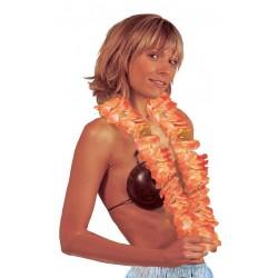 Collier Grosses Fleurs Hawaï Orange et Blanc