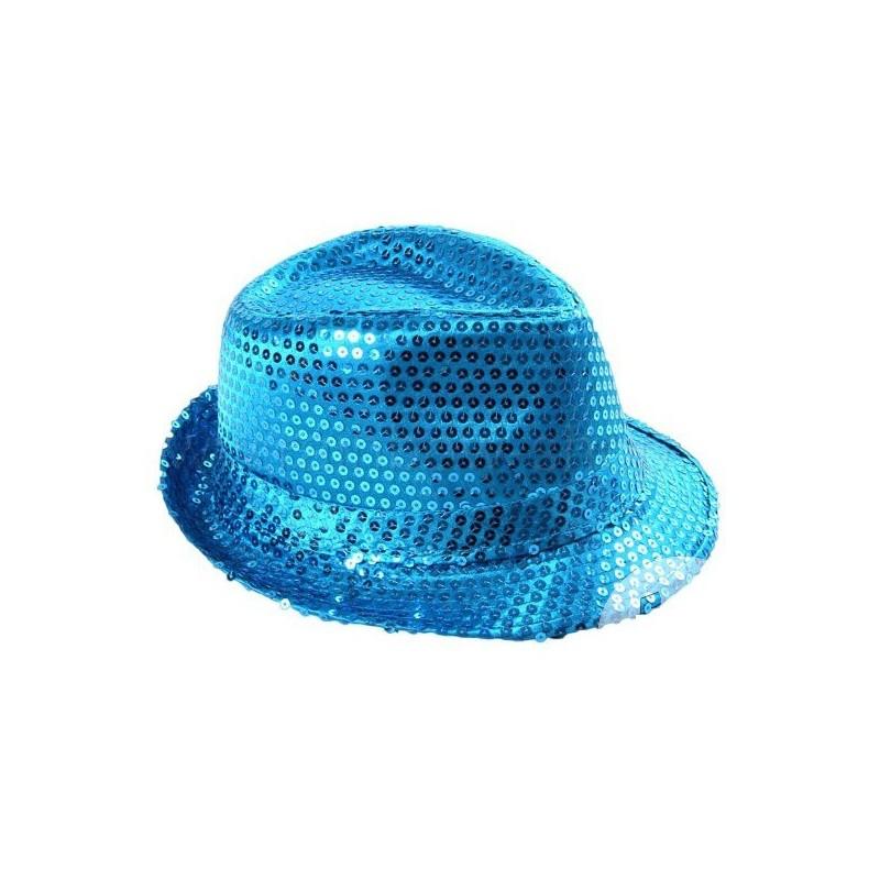 magasin meilleurs vendeurs magasin en ligne construction rationnelle Chapeau Borsalino Paillettes Sequins Bleu Turquoise
