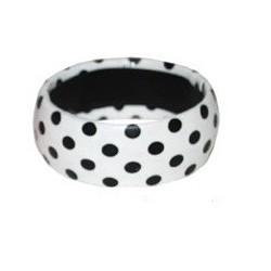 Bracelet Rétro Blanc à Pois Noir