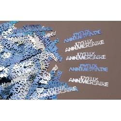 Confettis de Table Joyeux Anniversaire Bleu/Argent