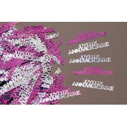 Confettis de Table Joyeux Anniversaire Fuchsia/Argent