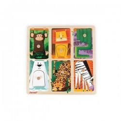 Puzzle à Encastrement Tactile Animaux Du Zoo - Janod