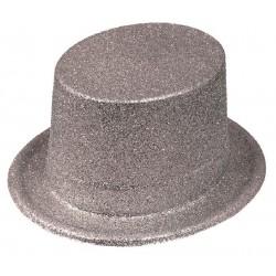 Chapeau Haut de Forme Paillette Argent