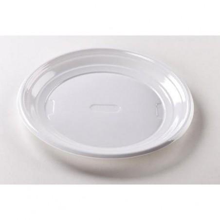 Assiettes Rondes en Plastique Blanc 17cm - 100 Pièces