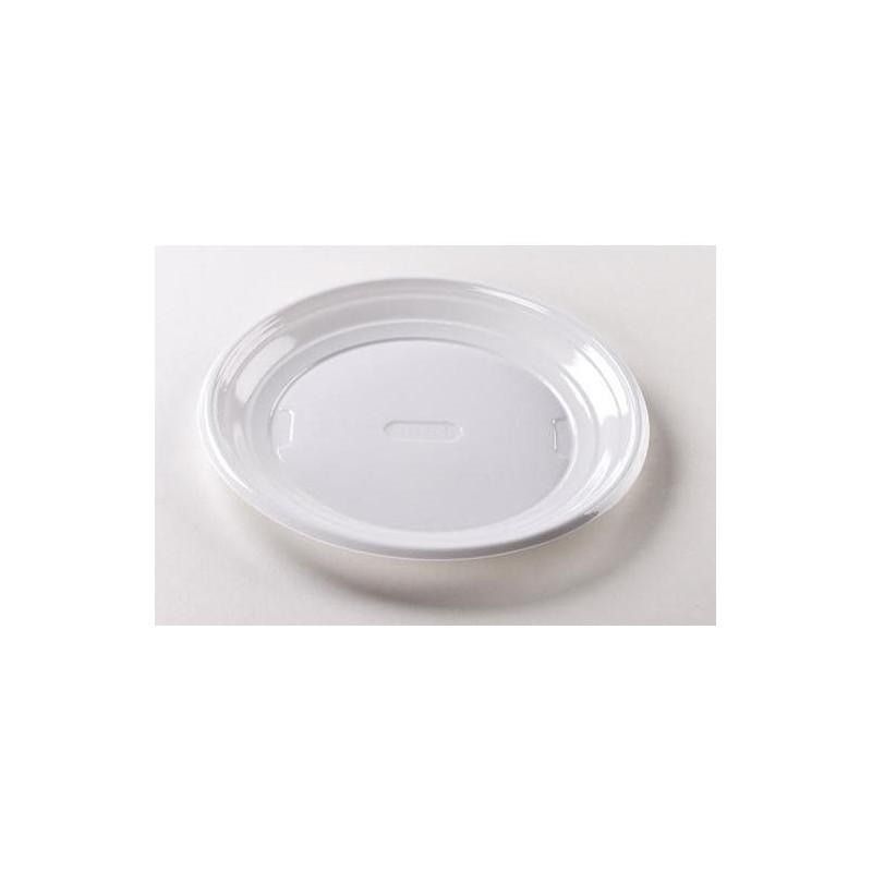 Assiettes Rondes en Plastique Blanc 22cm - 100 Pièces