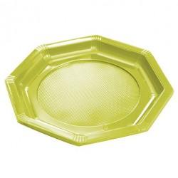 Assiette Octogonale en Plastique Vert