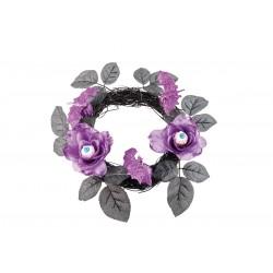 Couronne de Roses en Tissu -  Violet