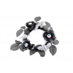 Couronne de Roses en Tissu - Noir