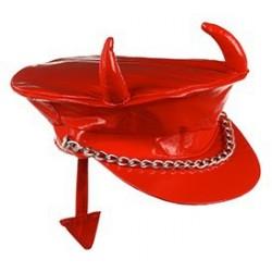Casquette Vinyle Rouge avec Queue de Diable