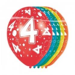 Ballon Nacré Anniversaire 4 Ans - 5 Pièces