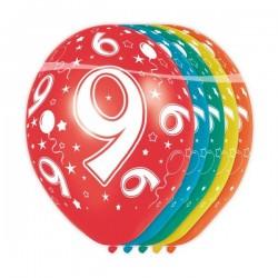 Ballon Nacré Anniversaire 9 Ans - 5 Pièces