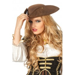 Chapeau Tricorne de Pirate Aspect Cuir Marron