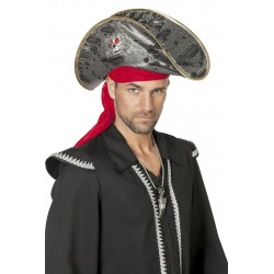 Chapeau de Pirate avec Bandeau Rouge