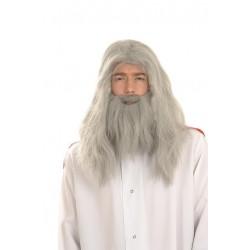 Perruque Longue Grise avec Barbe Merlin
