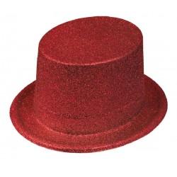 Chapeau Haut de Forme Paillettes Rouge