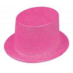 Chapeau Haut de Forme Paillettes Rose Fluo
