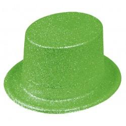 Chapeau Haut de Forme Paillettes Vert Fluo
