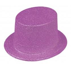 Chapeau Haut de Forme Paillettes Violet Fluo