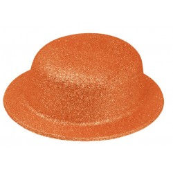 Chapeau Melon Paillette Orange Fluo