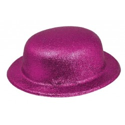 Chapeau Melon Paillette Rose Fluo