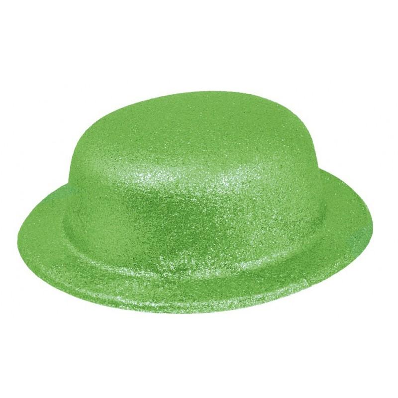 Chapeau Melon Paillette Vert Fluo