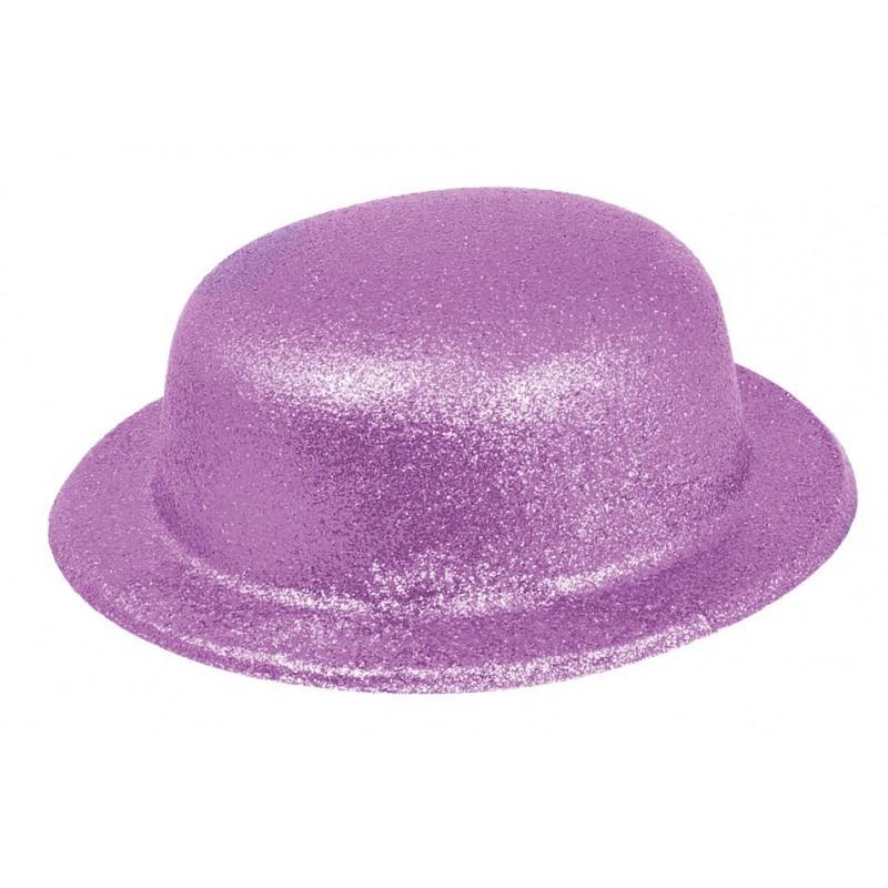 Chapeau Melon Paillette Violet Fluo