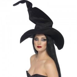 Chapeau de Sorcière en Velours Epais Noir
