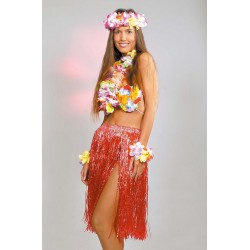 Collier de Fleurs Hawaï avec Bracelets et Couronne