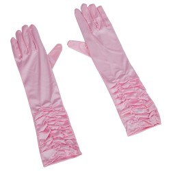 Gants Longs Satin Rose Pâle
