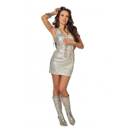 Déguisement Robe Disco Femme Argent