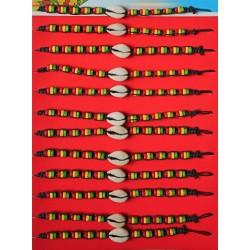 Bracelet Rasta avec Coquillage 12 Pièces