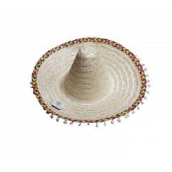 Chapeau Mexicain en Paille avec Pompons
