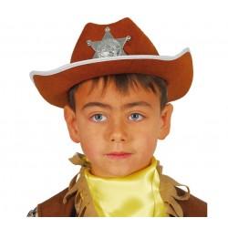 Chapeau de Shérif Marron avec Etoile, Taille Enfant