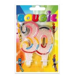 Bougie Multicolore Paillettée Numéro 30