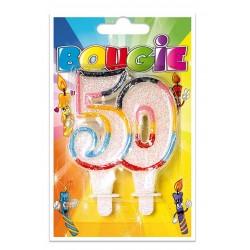 Bougie Multicolore Paillettée Numéro 50