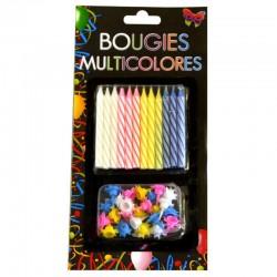 Bougies Anniversaire Multicolores avec Bobèche 24 Pièces