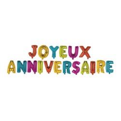 Ballons Métalliques Joyeux Anniversaire Lettres Multicolores
