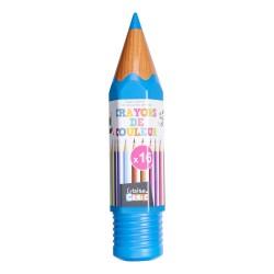 Crayons de Couleur 16 Pièces avec Boîte Crayon