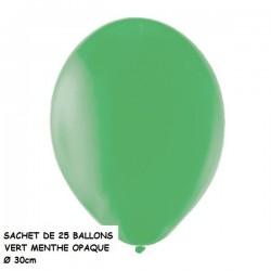 Ballons de Baudruche Opaques Vert Menthe 25 Pièces