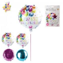 Ballons Aluminium Joyeux Anniversaire 2 Pièces