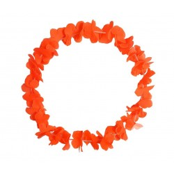 Collier de Fleurs Hawaï Fluo Orange
