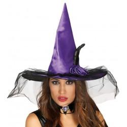 Chapeau de Sorcière Violet avec Voile Noir